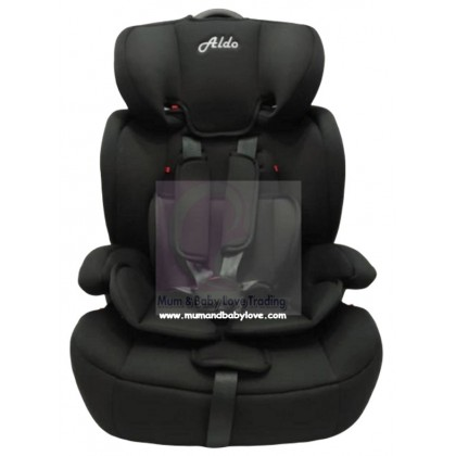 Aldo High Back Booster Car Seat with Harness (9-36kg)- Red/ Black
