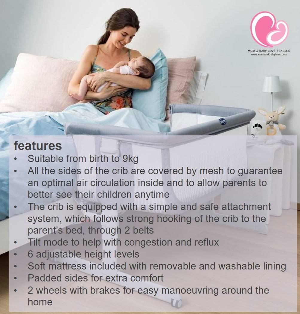 Chicco Next2me Air Co Sleeping Baby Crib Side To Side Bed Newborn Till 9kg Free