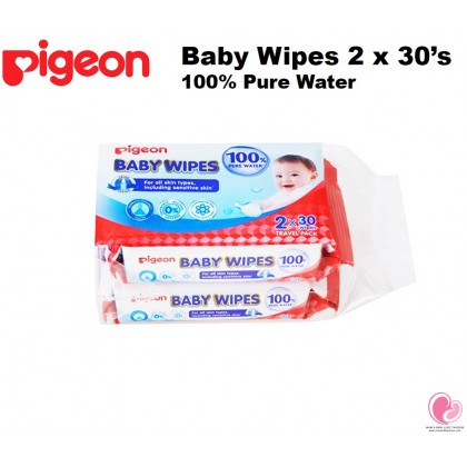 Pigeon 100% Pure Water Baby Wipes 30's x 2 packs / 80's x 6 packs