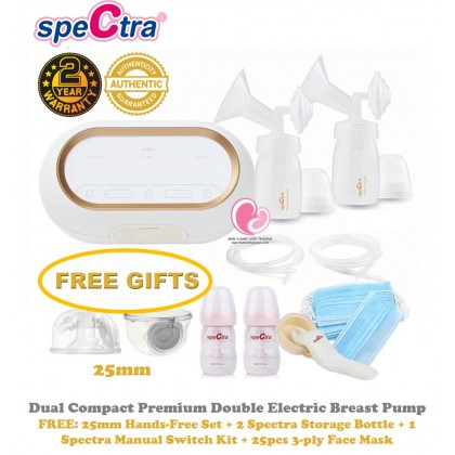 Spectra Dual Compact Premium Portable Rechargeable Double Breast Pump (Raya Sale Available with HandsFree Cup)