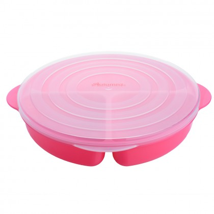 Autumnz Baby Divided Plate with Lid 6 months+ (Blue/ Green/ Orange/ Pink/ Rose)- 1pc