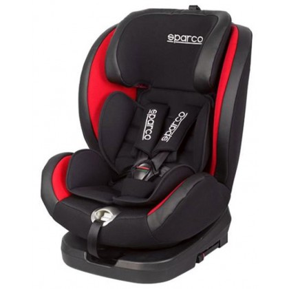 SPARCO 360 Spin Rotatable Baby Car Seat (Newborn till 36kg) with Isofix SK600i (Grey/ Red)