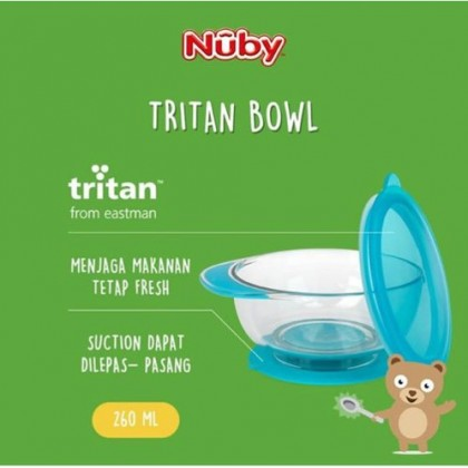 Nuby Tritan Sure Grip Stay Put Suction Bowl 260ml (Pink / Blue) 1pc