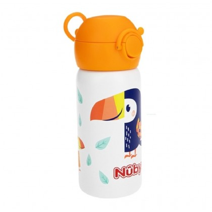 Nuby 316 Stainless Steel Flip Top Straw Cup 300ml / 10oz (Orange / Blue)- Optional: Straw Replacement