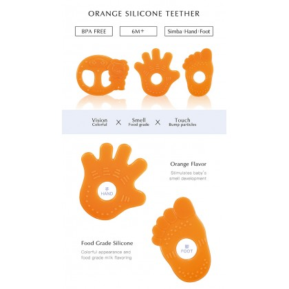 Simba Orange Flavour Silicone Teether 6 Months+ (Hand/ Foot/ Orange Simba) 1pc