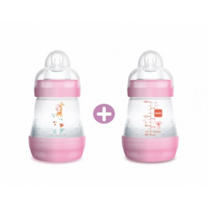 MAM Anti Colic Baby Feeding Bottle 160ml - Twin Pack (Blue / Pink / Ivory)