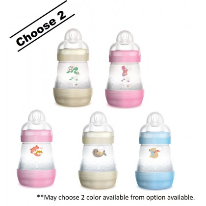 MAM Anti Colic Baby Feeding Bottle 160ml - Twin Pack (Blue / Pink / Ivory)
