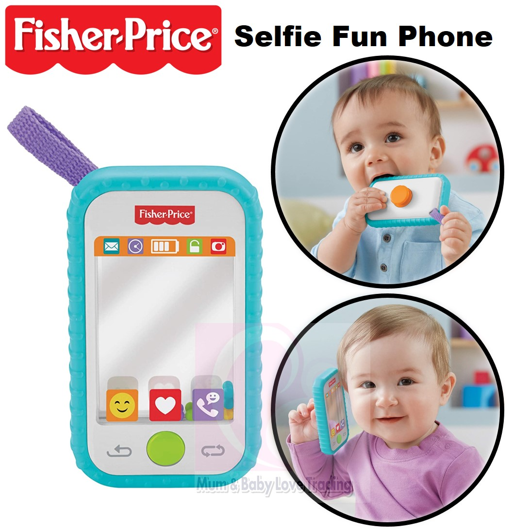 Fisher-Price #Selfie Fun Phone Baby Rattle Mirror and Teething Toy NEW!